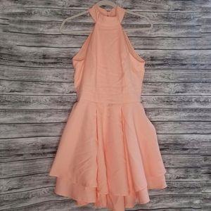 Lulu's Peach Rehearsal Skater Mini Dress